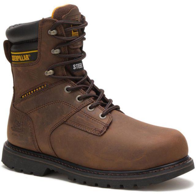 """CAT - Caterpillar Men's Salvo 8"""" Waterproof Steel Toe Work Boot"""